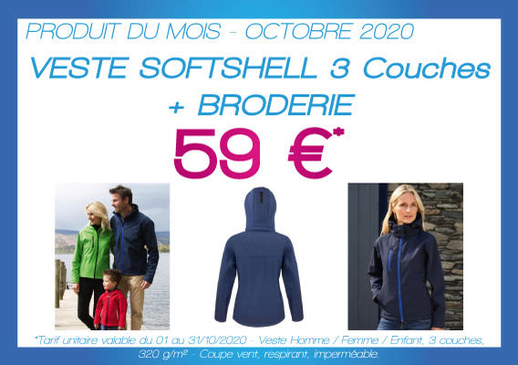 Veste softshell 3 couches, brodée